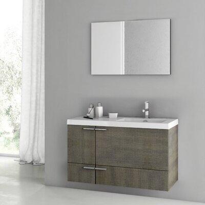 "New Space 39"" Single Bathroom Vanity Set with Mirror Base Finish: Gray Oak"