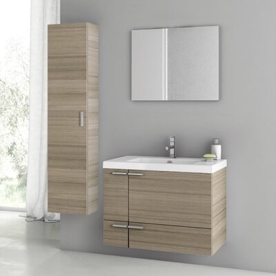 """New Space 32"""" Single Bathroom Vanity Set with Mirror Base Finish: Larch Canapa"""