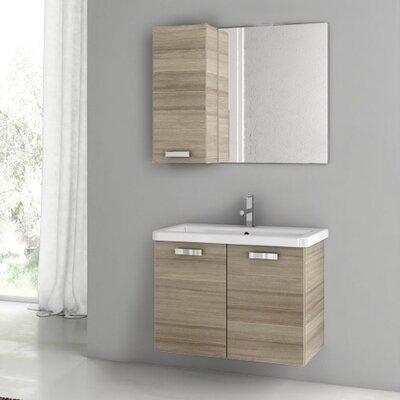 "City Play 32"" Single Bathroom Vanity Set with Mirror Base Finish: Larch Canapa"