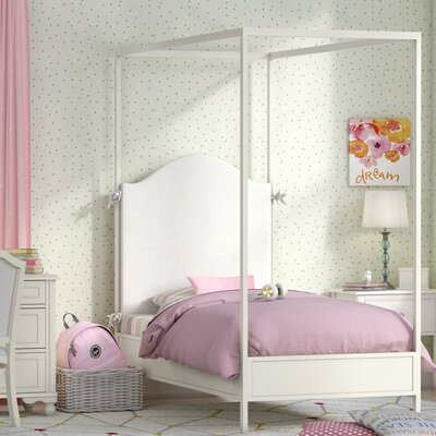 Summerset Metal Canopy Bed Size: Twin, Color: Taupe