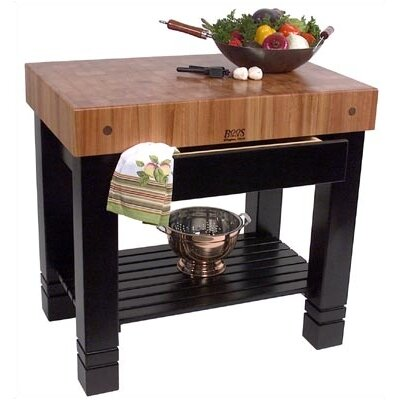 Rouge et noir prep table with butcher block top wayfair - Table basse rouge et noir ...