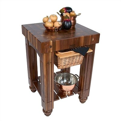 """American Heritage Kitchen Island with Butcher Block Top Size: 48"""" W x 24"""" D"""