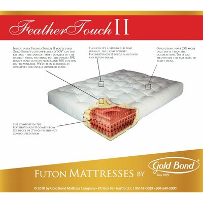"""Feather Touch 7"""" Futon Mattress Size: Queen, Color: Burgundy"""