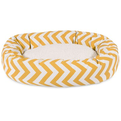 """Chevron Sherpa Bagel Bolster Dog Bed Size: Large (40"""" W x 29"""" D), Color: Yellow"""