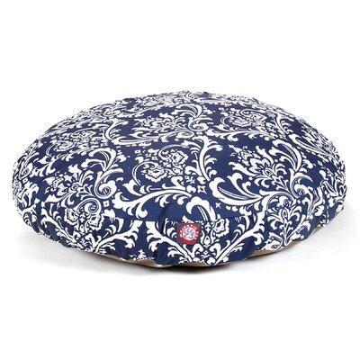 "French Quarter Round Dog Pillow Color: Navy Blue, Size: Medium (36"" L x 36"" W)"