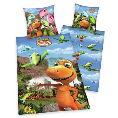 Herding Heimtextil Kinder Bettwäsche-Set Dino-Zug aus 100% Baumwollflanell