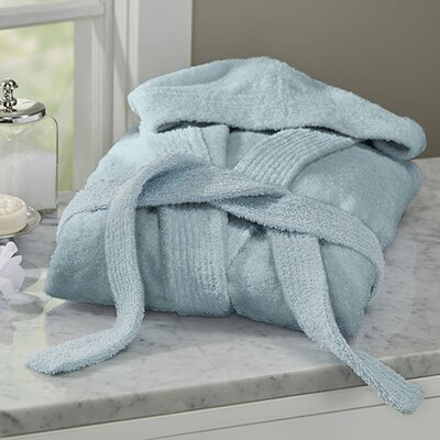 Huxley Turkish Cotton Hooded Bathrobe Color: Baby Blue