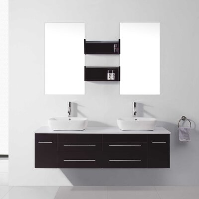 "Virtu Augustine 59.8"" Double Bathroom Vanity Set with White and Mirror"