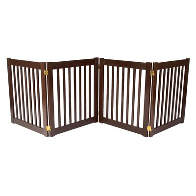 """Clarissa Handcrafted 4 Panel Free Standing EZ Gate Size: 27"""" H x 72"""" W, Finish: Brown"""