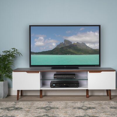 "Elton 59"" TV Stand Color: White Matte / Walnut"