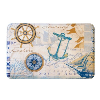 "Eliza Plush Memory Foam Anti-Fatigue Coastal Beach Theme Bath Rug Color: Nautical, Size: 20"" W x 32"" L"