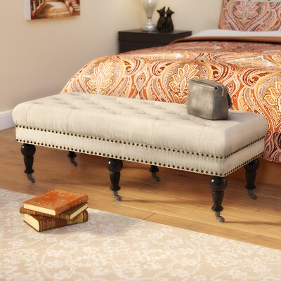 "Sands Upholstered Bench Size: 50"" W x 19.69"" D x 17.72"" H, Upholstery: Natural, Nailhead Detail: Burnished Bronze"