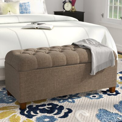 Halvorson Upholstered Storage Bench Upholstery: Brown
