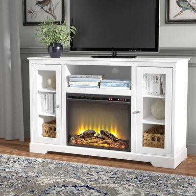 """Rita 52"""" TV Stand with Fireplace Finish: White"""