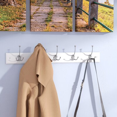 Burkart 5 Hook Coat Rack Color: Flat White / Satin Nickel Finish