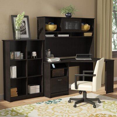 Hillsdale Corner Desk with Hutch and Bookcase Color: Espresso Oak