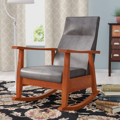 Harland Rocking Chair Fabric: Gray, Color: Oak