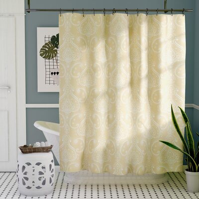 Loraine Paisley Shower Curtain Color: Flax Yellow