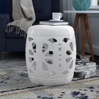 Moree Stencil Blossom Garden Stool Finish: White