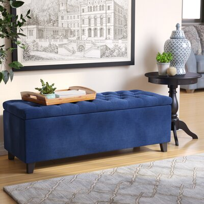 Darius Upholstered Storage Bench Upholstery: Navy