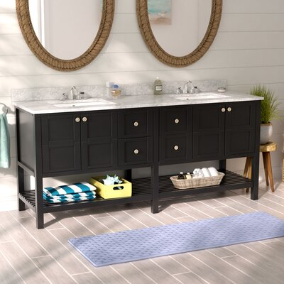"Caldwell 72"" Double Vanity Set Base Color: Black"