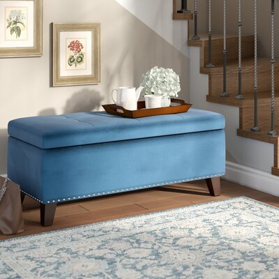 Loretta Upholstered Storage Bench Upholstery: Blue