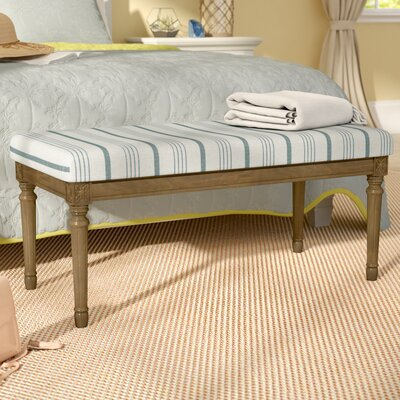 Lake Kathryn Stripe Decorative Upholstered Bench with Wood Legs Upholstery: Blue, Leg Color: Mid-Tone Walnut