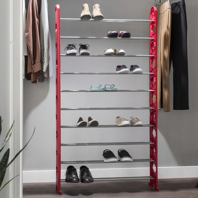 10-Tier 50 Pair Shoe Rack Finish: Red