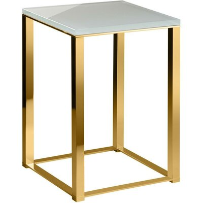 Simmerman Backless Vanity Stool Frame Color: Polished Gold, Seat Color: White
