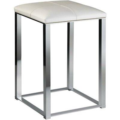 Simmerman Backless Vanity Stool Frame Color: Polished Chrome, Seat Color: White