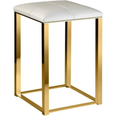 Simmerman Backless Vanity Stool Frame Color: Polished Gold, Seat Color: White