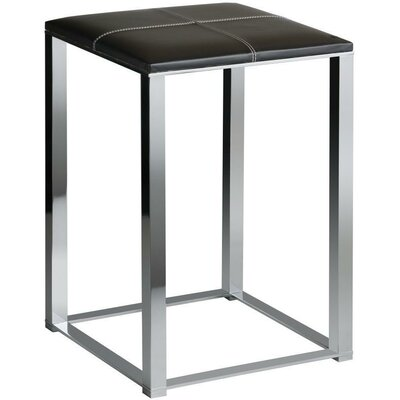Simmerman Backless Vanity Stool Seat Color: Black, Frame Color: Polished Chrome
