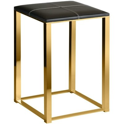 Simmerman Backless Vanity Stool Seat Color: Black, Frame Color: Polished Gold