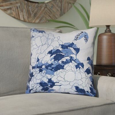 "Clair Peonies and Butterfly Indoor Square Throw Pillow Size: 16"" H x 16"" W, Color: Blue"