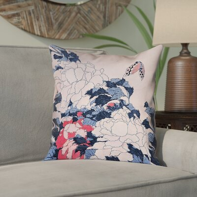 "Clair Peonies and Butterfly Square Linen Pillow Cover Size: 16"" H x 16"" W, Color: Blue/Pink"