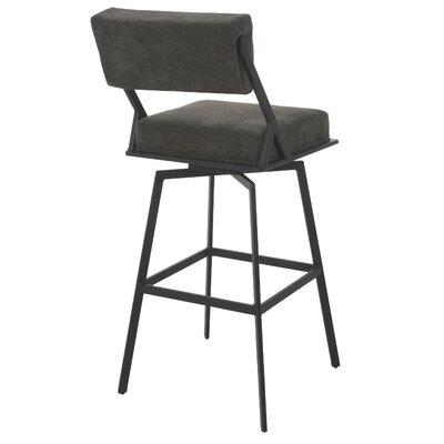 "Shiffer 30"" Swivel Bar Stool Upholstery: Charcoal, Frame Color: Satin Black"