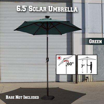 Larissa Solar Light Patio Umbrella Tilt Aluminum Garden Market Umbrella Fabric Color: Green