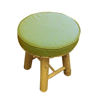 Lapithos Bamboo Accent Stool with Cushion Seat Color: Green