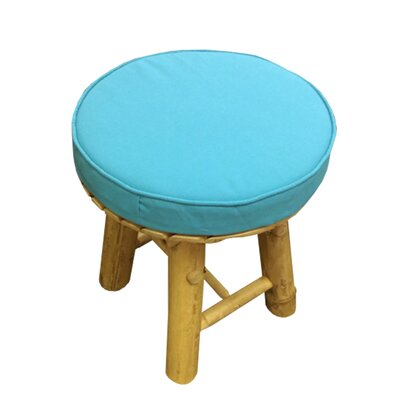 Lapithos Bamboo Accent Stool with Cushion Seat Color: Blue