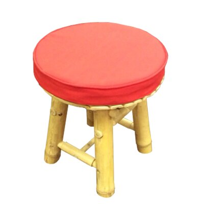 Lapithos Bamboo Accent Stool with Cushion Seat Color: Red