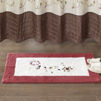 Laurel Embroidered Cotton Tufted Bath Rug Size: Small