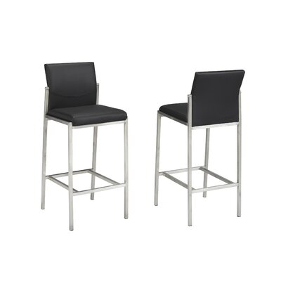 "Hager 29"" Bar Stool Upholstery: Black"
