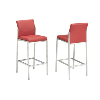 """Hager 29"""" Bar Stool Upholstery: Red"""