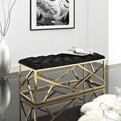 Colworth Metal and Metal Bench Upholstery: Black, Color: Gold