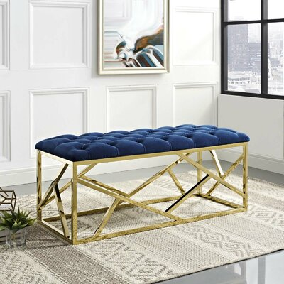Colworth Metal and Metal Bench Upholstery: Navy, Color: Gold