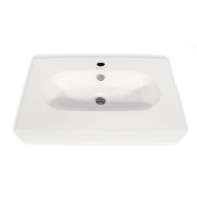Ice Cream Ceramic Rectangular Vessel Bathroom Sink with Overflow