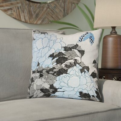 "Clair Peonies and Butterfly Indoor Square Throw Pillow Size: 26"" H x 26"" W, Color: Gray/Blue"