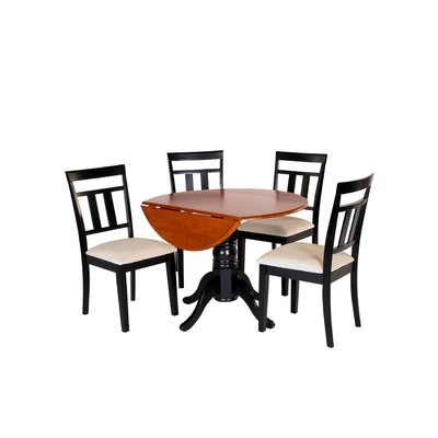 Agata 5 Piece Drop Leaf Dining Set Table Color: Black/Cherry, Chair Seat: Microfiber Upholstered