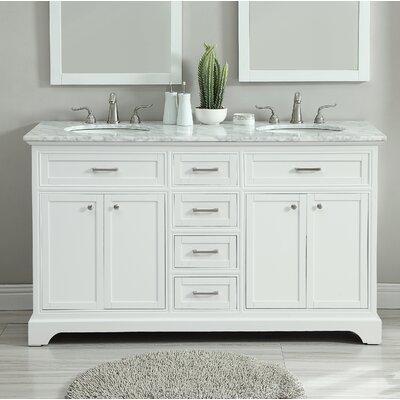 """Darry 60"""" Double Bathroom Vanity Set Base Finish: White"""