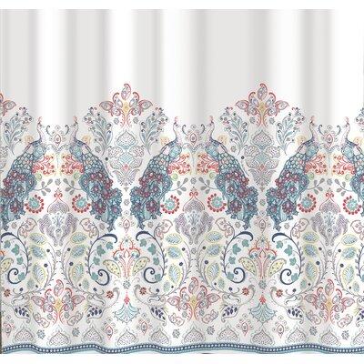 Berglund Peacock Border Cotton Shower Curtain